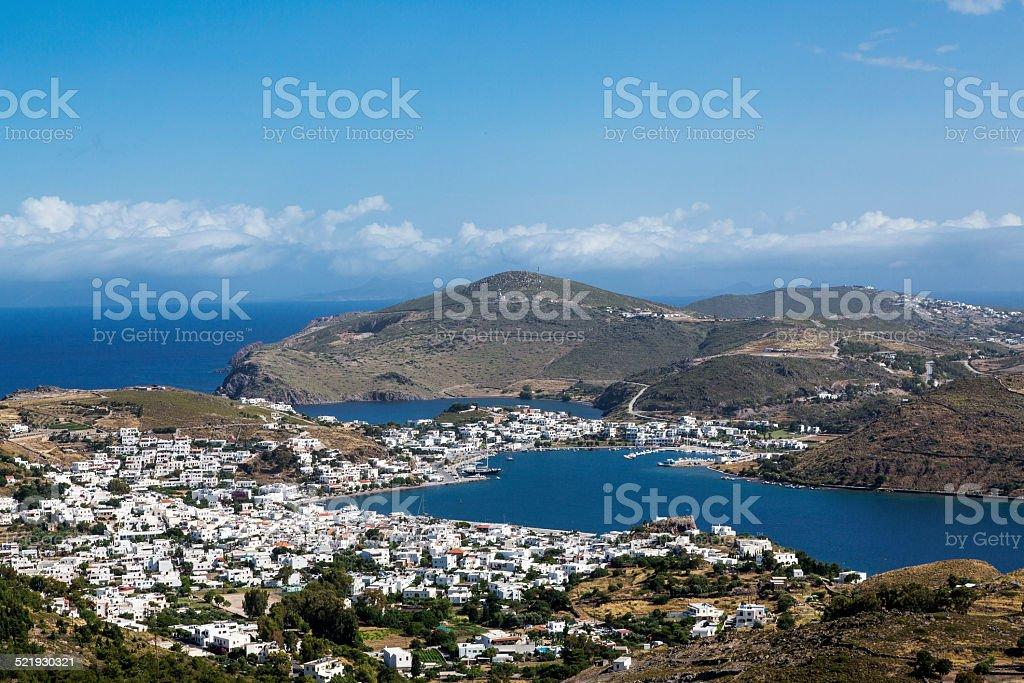Patmos, Port of Skala stock photo