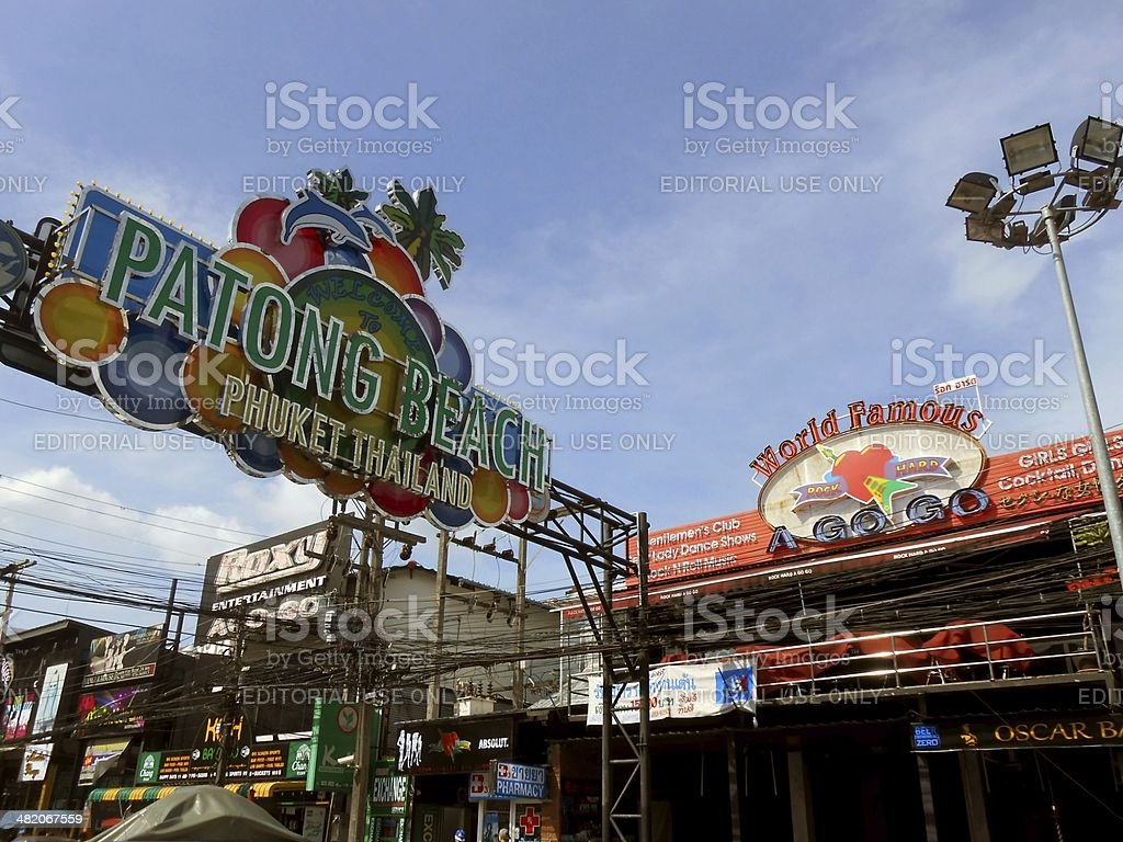 Patong beach Bangla road welcome sign, Thailand stock photo