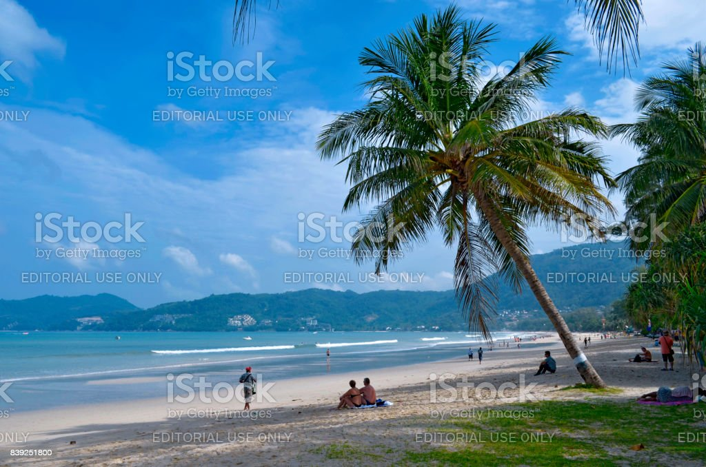 Patong beach in the morning stock photo