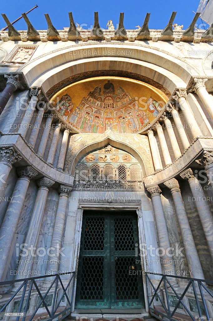 Patriarchal Cathedral Basilica of Saint Mark in Venice stock photo