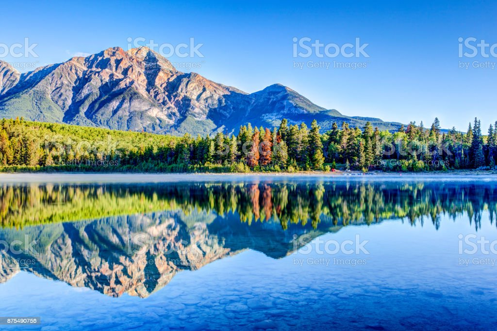 Patricia Lake at Jasper National Park in Alberta, Canada stock photo
