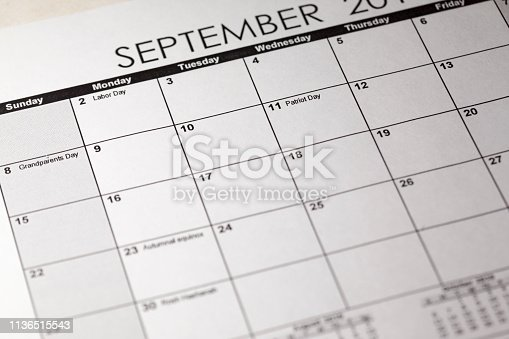 istock Patriot day in selective focus on the simple September 2019 calendar. 1136515543