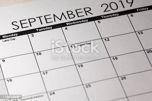 istock Patriot day in selective focus on the simple September 2019 calendar. 1138245561