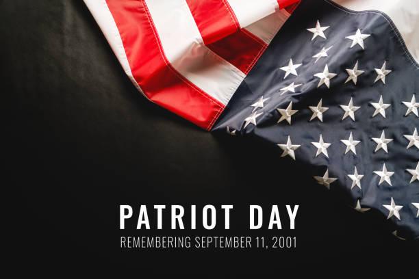 Patriot day of USA, America flag on black background stock photo
