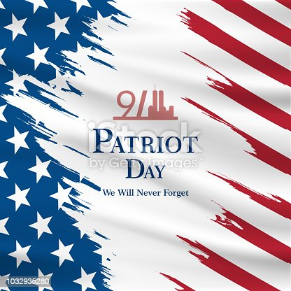 istock Patriot day USA Never forget 9.11 vector poster. Patriot Day, September 11, We will never forget 1032935280