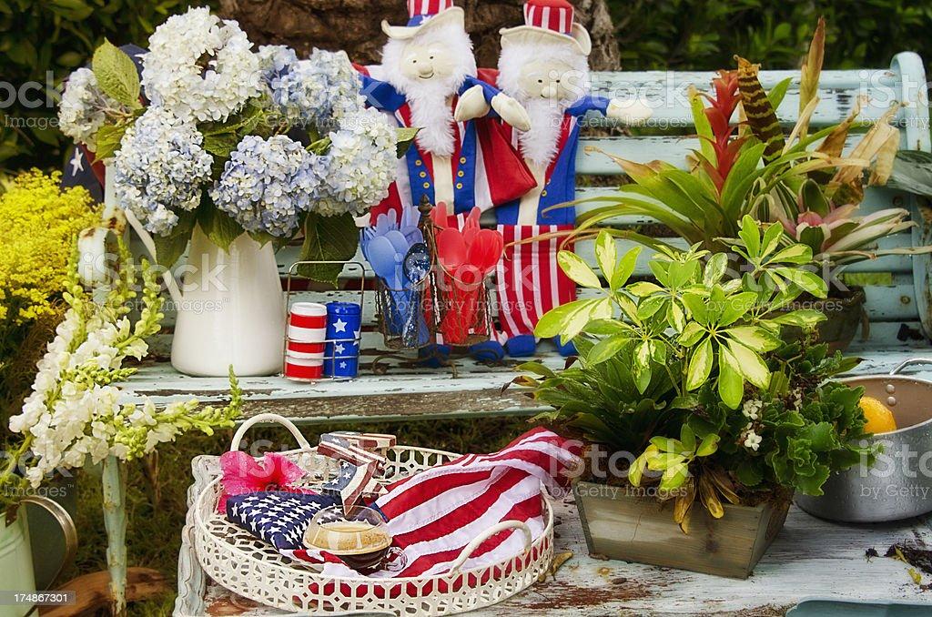 Patriot Garden Bench royalty-free stock photo