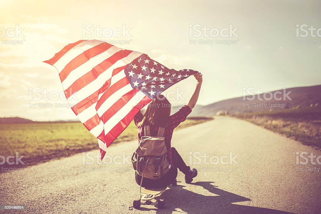 Patriot girl on a sunny day stock photo