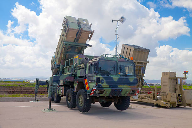 Patriot Guided Missile System at exhibition Ramat David, Israel - April 23, 2015: Patriot Guided Missile System and Iron Dome launcher at the exhibition for Israeli Independence Day on April 23, 2015 antiterrorist stock pictures, royalty-free photos & images