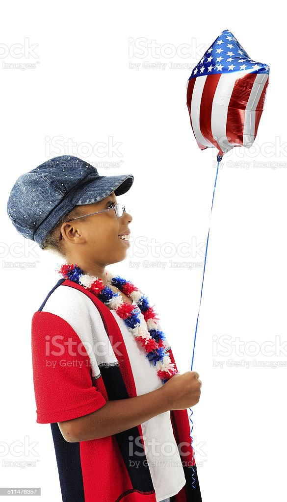 Patriot, Happy with Her Balloon stock photo