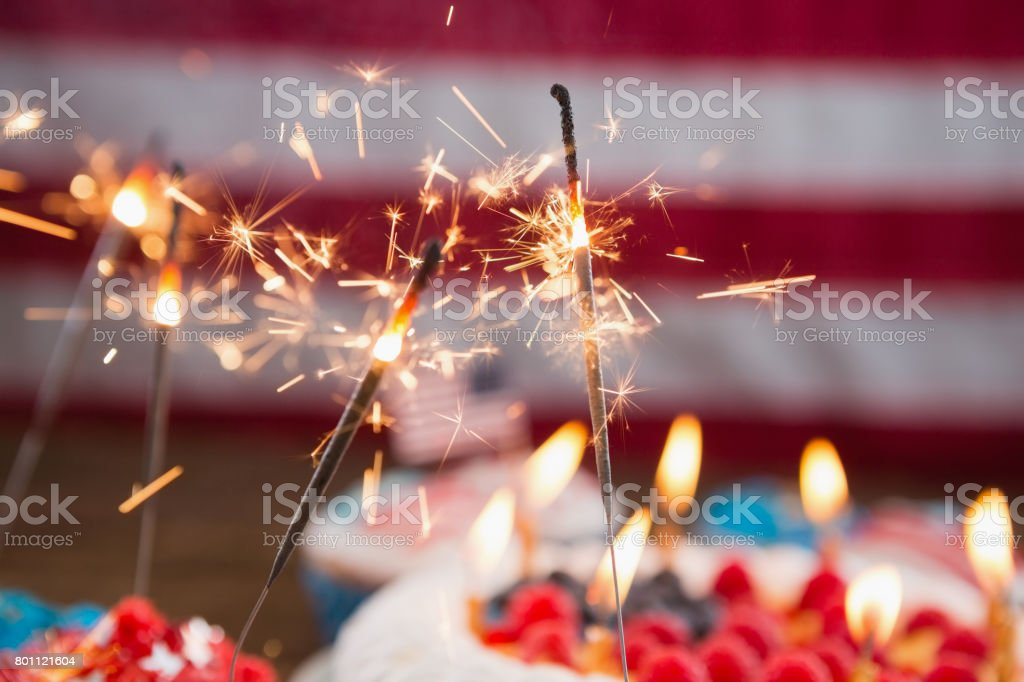 Patriotic 4th of july cake and cupcake stock photo