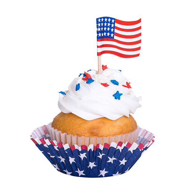 Patriotic 4th of July cupcake on white background stock photo