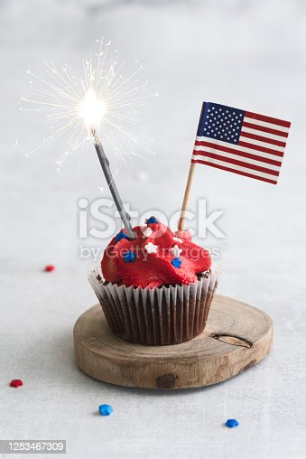 Patriotic 4th of July Cupcakes with sprinkles and flag