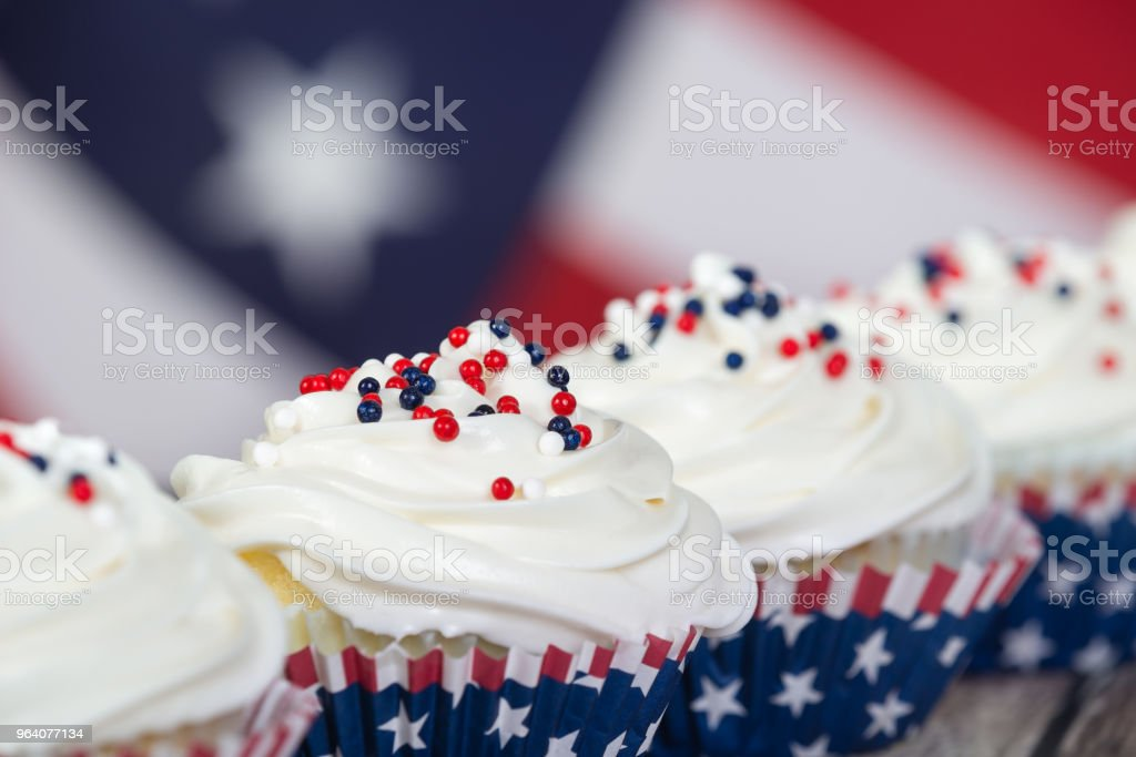 Patriotic 4th of July or Memorial Day celebration cupcakes - Royalty-free American Flag Stock Photo