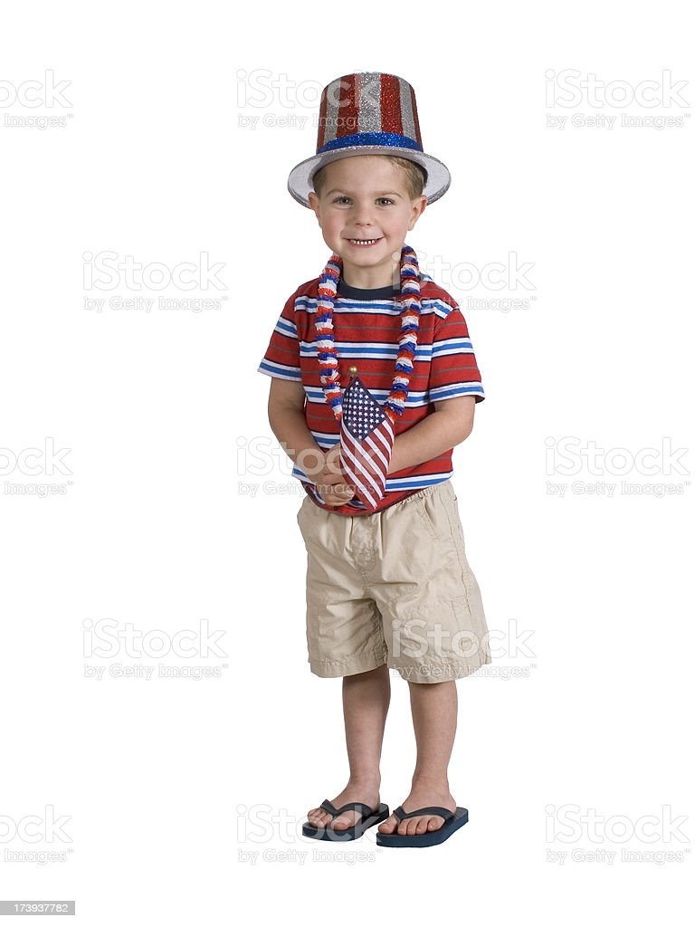 Patriotic 4th Of July Preschool Boy, Isolated, Clipping Path stock photo