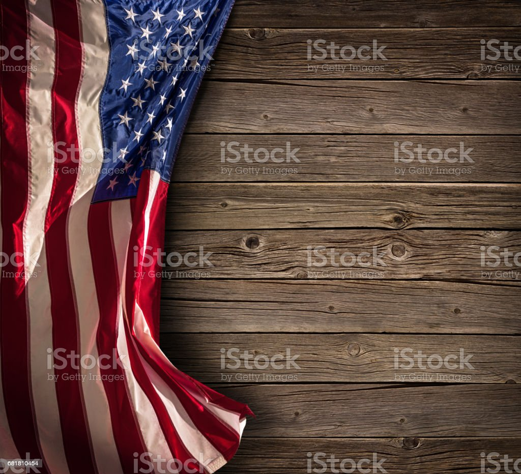 Patriotic American Celebration - Usa Flag On Vintage Wooden stock photo