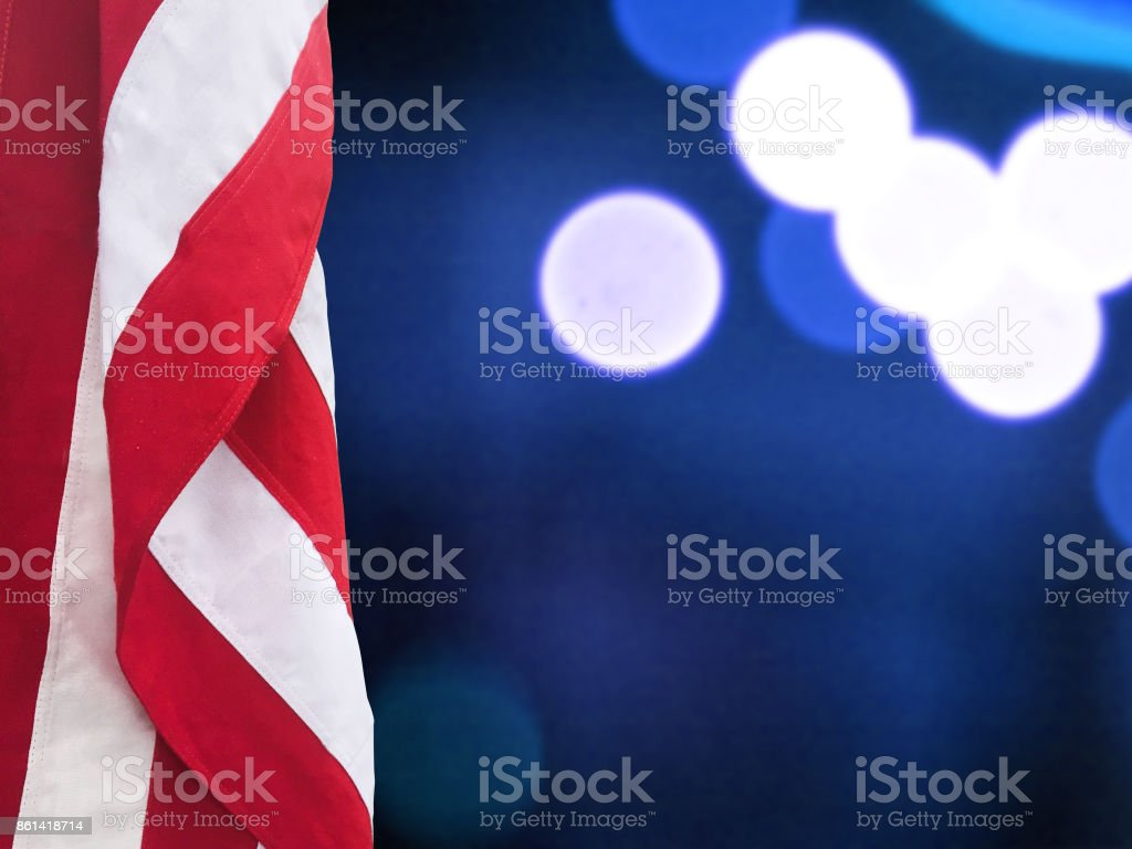 Patriotic American Flag and Blue Lights Background stock photo