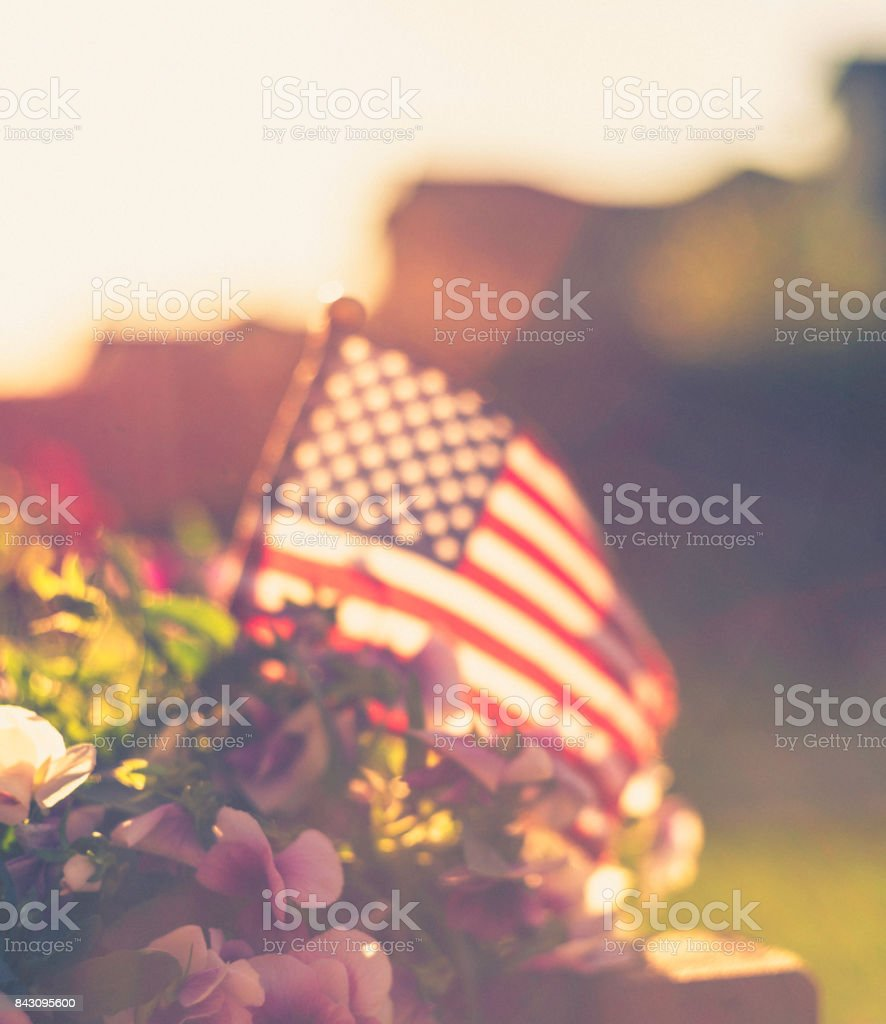 Patriotic American flag background with flowers and sun flare stock photo