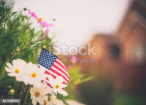 istock Patriotic American flag in garden background 842366584