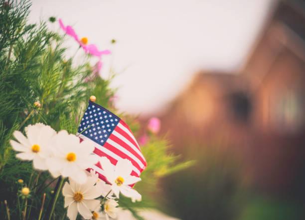 Patriotic American flag in garden background stock photo
