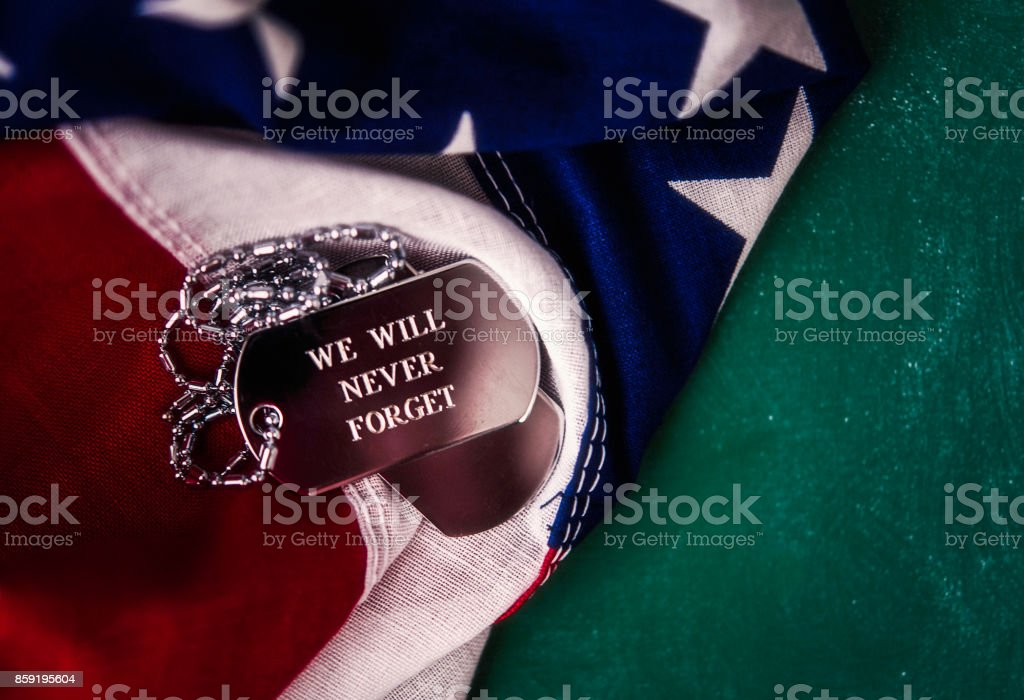 Patriotic American flag on green chalkboard for Veterans Day stock photo