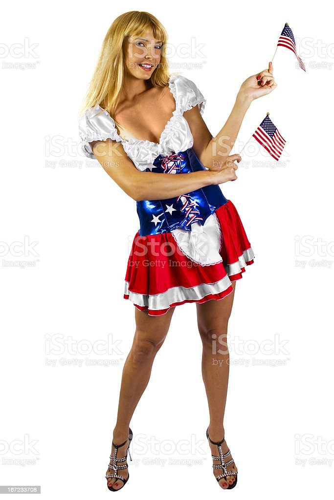 Patriotic American Girl in  Sexy Flag Costume royalty-free stock photo
