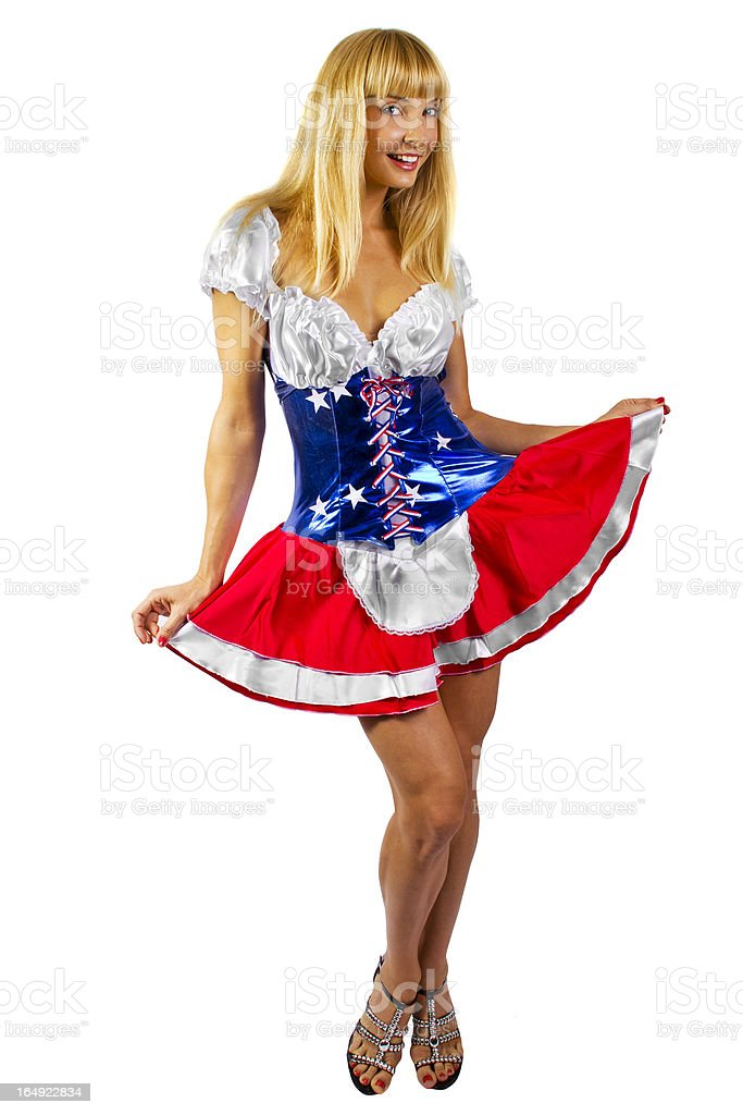 Patriotic American Girl Wearing a Stars And Stripes Costume royalty-free stock photo