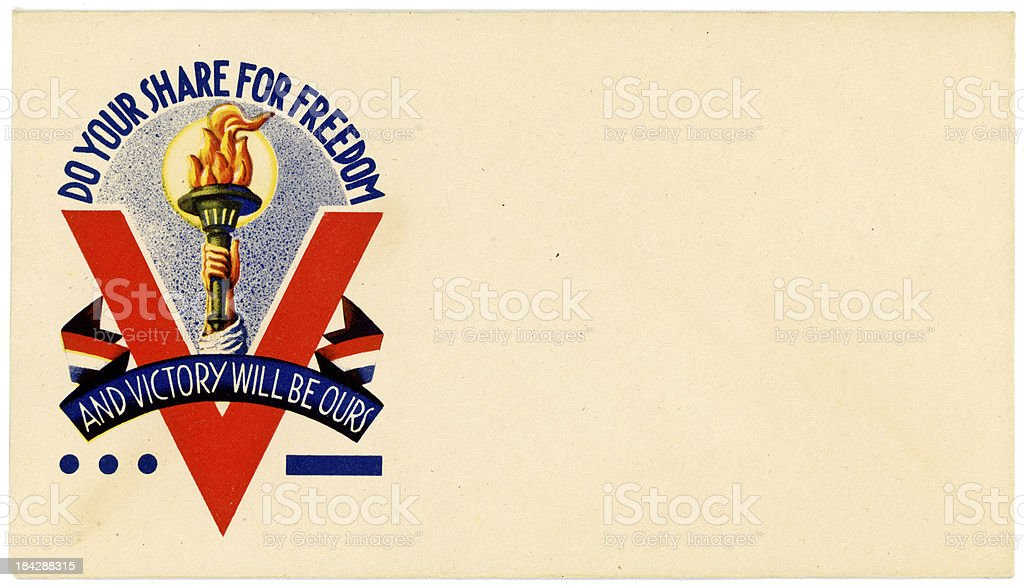 Patriotic Americana World War II Envelope Do Your Share royalty-free stock photo