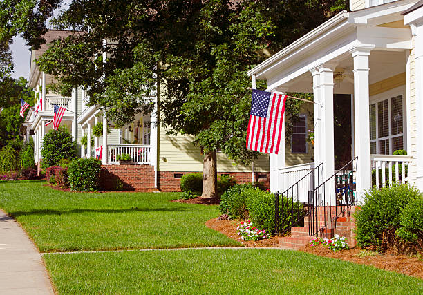 Patriotic and wealthy neighborhood stock photo
