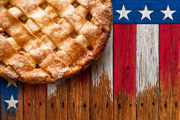 Patriotic Apple Pie with Stars and Stripes Background stock photo