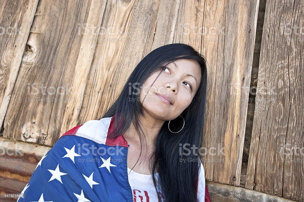 Patriotic Asian woman stock photo