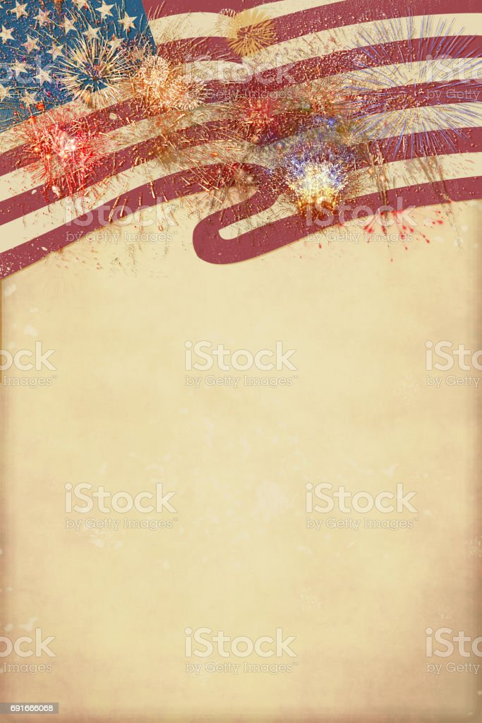 Patriotic border, fireworks flag with copy space stock photo