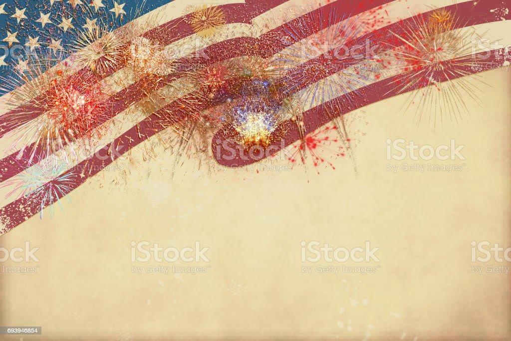 Patriotic border, USA flag and fireworks stock photo