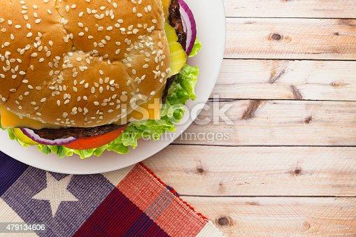 istock Patriotic Cheeseburger on a Sesame Seed Bun 479134606