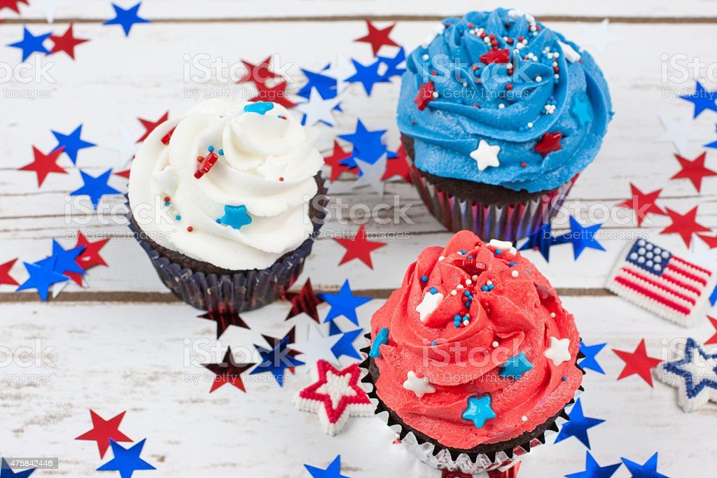 Patriotic Chocolate Cupcakes stock photo
