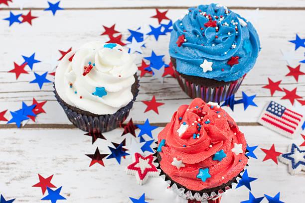 Patriotic Chocolate Cupcakes stock photo