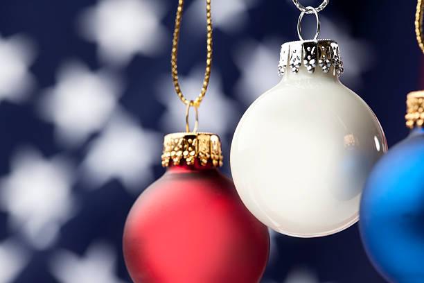 Patriotic Christmas Ornaments.Patriotic Christmas Ornaments And Usa Flag Stock Photo