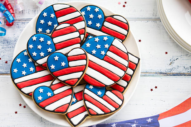 Patriotic cookies Cookies decorated for Independence Day, Labor Day or Memorial Day sugar cookie stock pictures, royalty-free photos & images