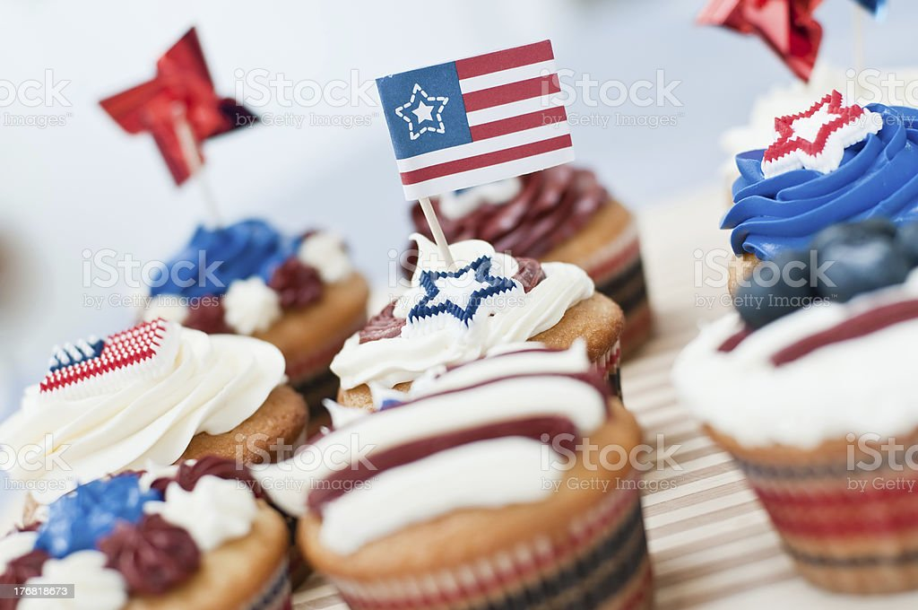 Patriotic Cupcakes USA themed cupcakes for the 4th of July holiday picnic. American Flag Stock Photo