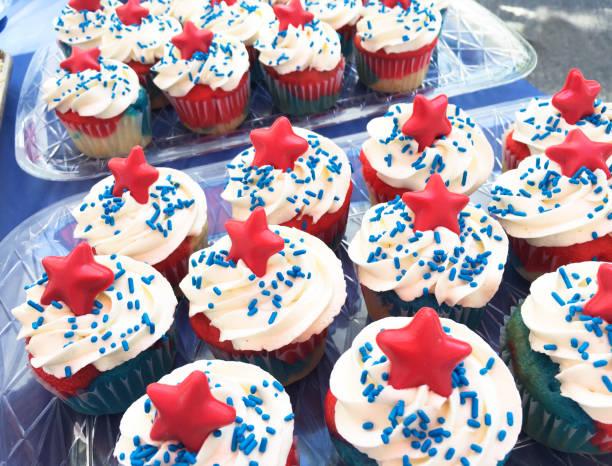 Patriotic Cupcakes stock photo