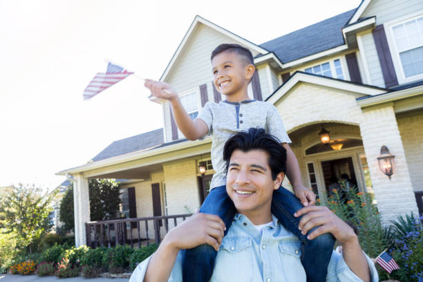 Patriotic father and son stock photo