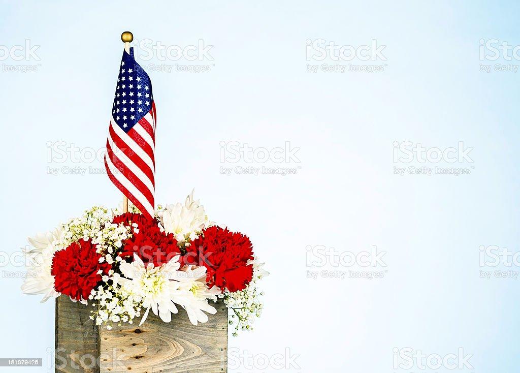 Patriotic Flower Arrangement for July 4th stock photo