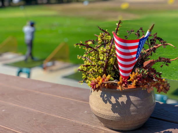 Patriotic flower pot with American flags and golfer on the background stock photo