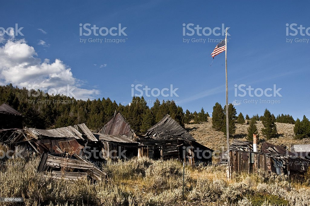 Patriotic Ghost Town stock photo