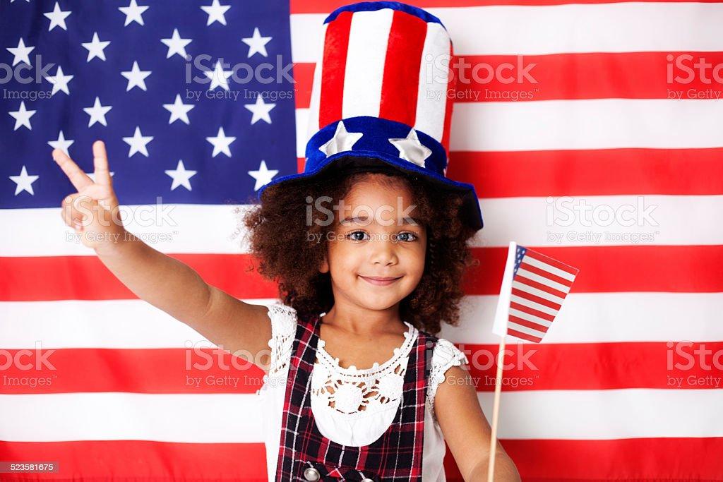 Patriotic Girl stock photo