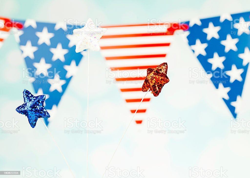 Patriotic Glittery Stars and Flags stock photo