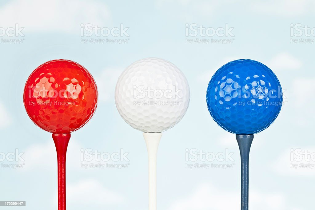 Patriotic Golf Balls for Independence Day stock photo