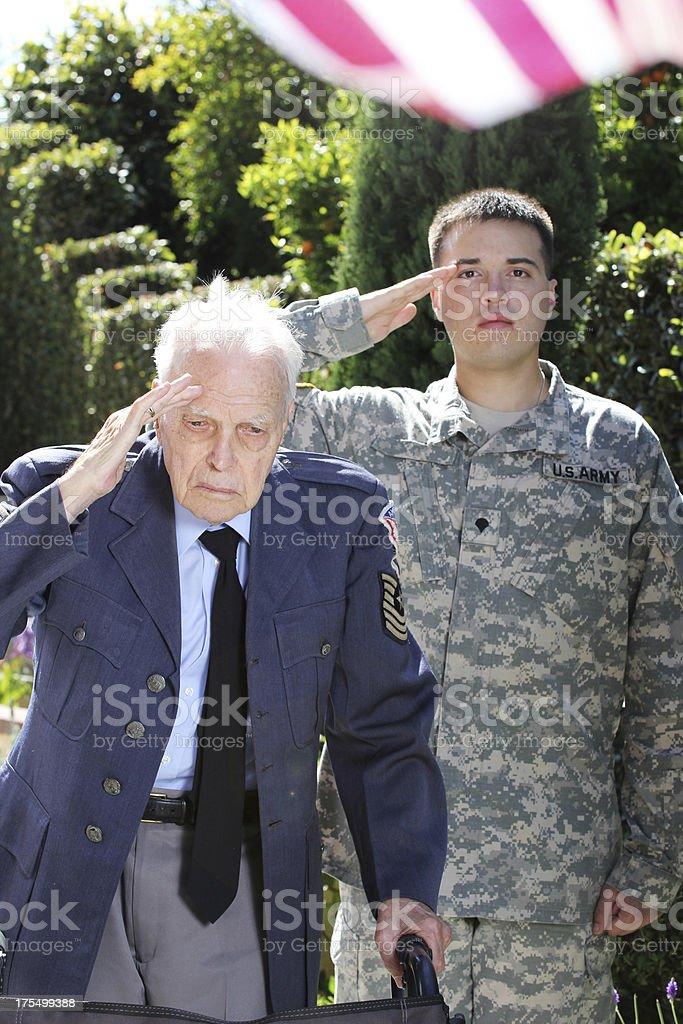 Patriotic Grandfather and Grandson stock photo