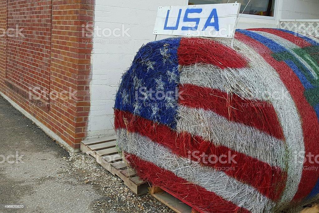 Patriotic Hay Bale in Iowa stock photo