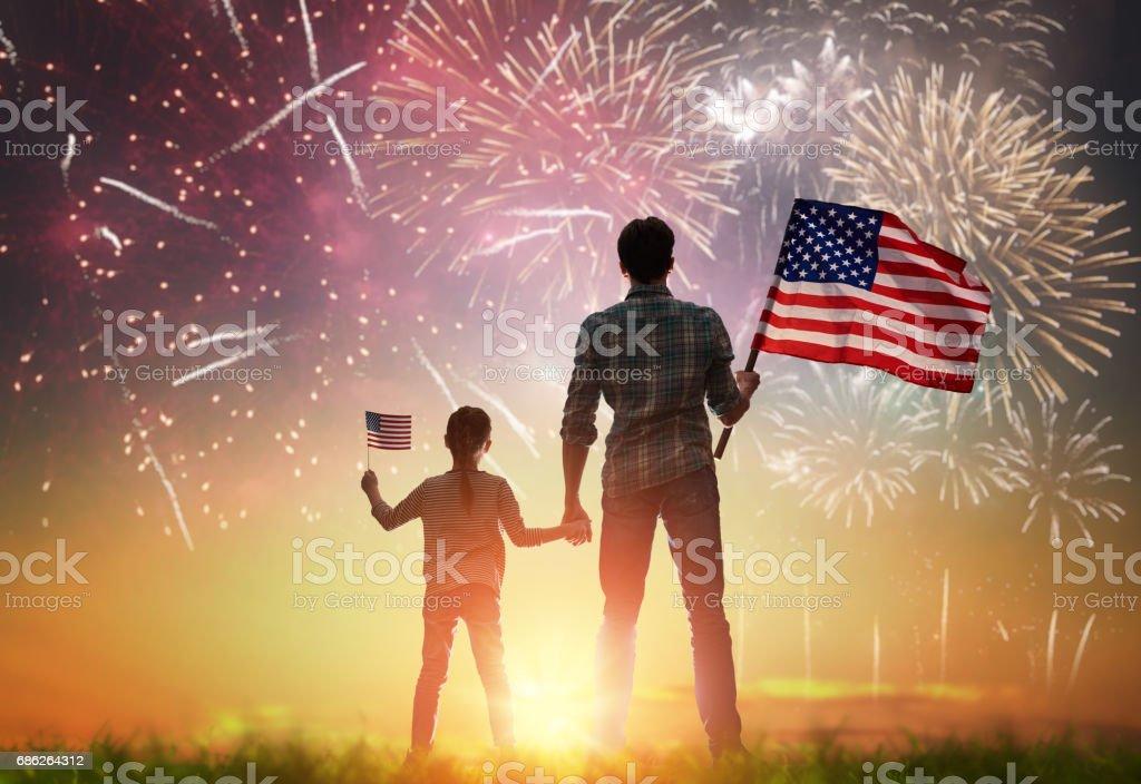 Patriotic holiday. Happy family stock photo