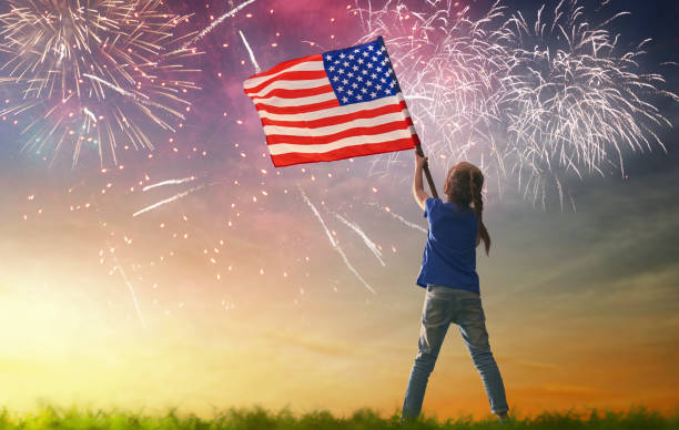 patriotic holiday. happy kid - happy 4th of july stock pictures, royalty-free photos & images